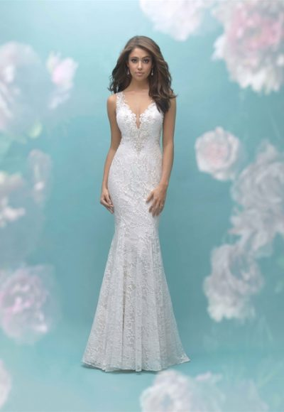 Beaded Lace Illusion Back Sheath Wedding Dress by Allure Bridals