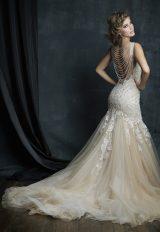 Beaded Lace V-neck Sleeveless Mermaid Wedding Dress by Allure Bridals - Image 2