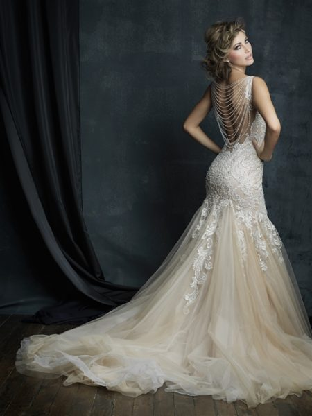 Beaded Lace V Neck Sleeveless Mermaid Wedding Dress By Allure Bridals Image 2