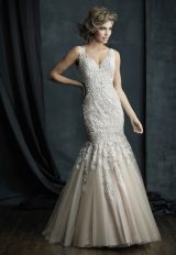 Beaded Lace V-neck Sleeveless Mermaid Wedding Dress by Allure Bridals - Image 1