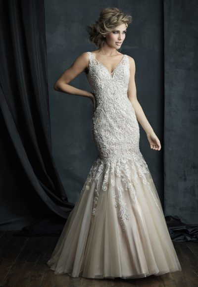 Beaded Lace V-neck Sleeveless Mermaid Wedding Dress by Allure Bridals