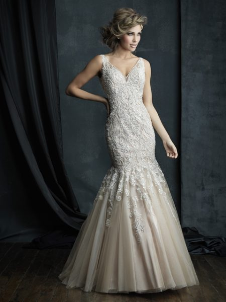 Beaded Lace V-neck Sleeveless Mermaid Wedding Dress | Kleinfeld Bridal