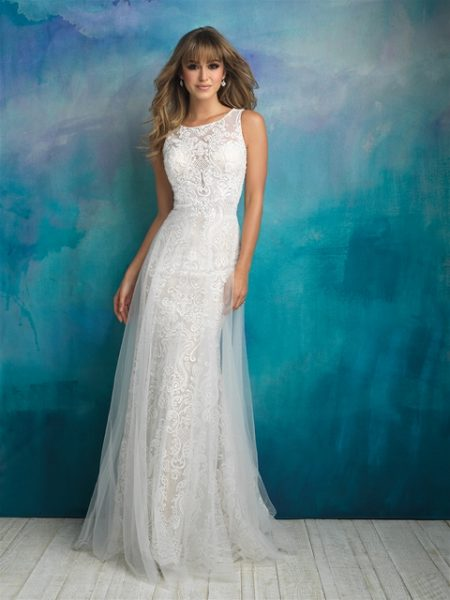 Bohemian Sheath Wedding Dress by Allure Bridals - Image 1
