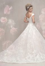 Cap Sleeve Off The Shoulder Lace Ball Gown Wedding Dress by Allure Bridals - Image 2