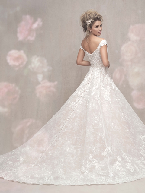 Cap sleeve off the shoulder lace ball gown wedding dress for Allure long sleeve wedding dress