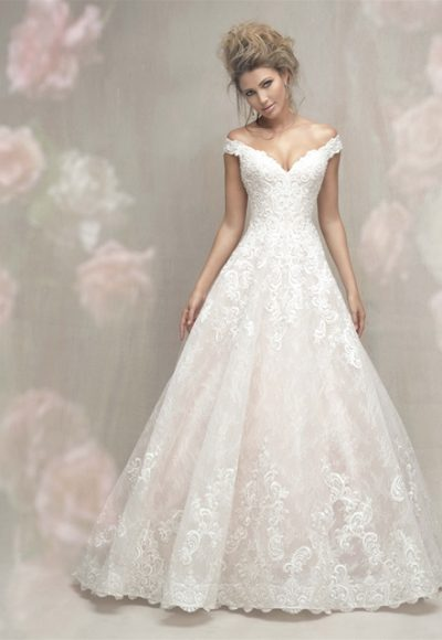 Cap Sleeve Off The Shoulder Lace Ball Gown Wedding Dress by Allure Bridals