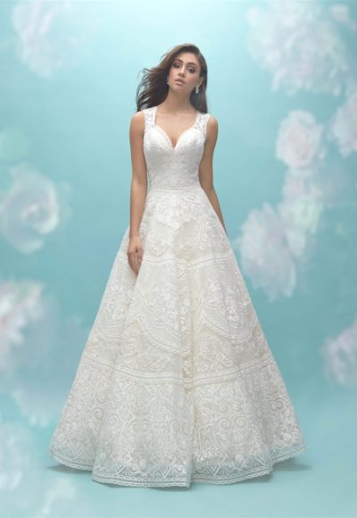 Deep Sweetheart Neck Sleeveless Lace A-line Wedding Dress by Allure Bridals