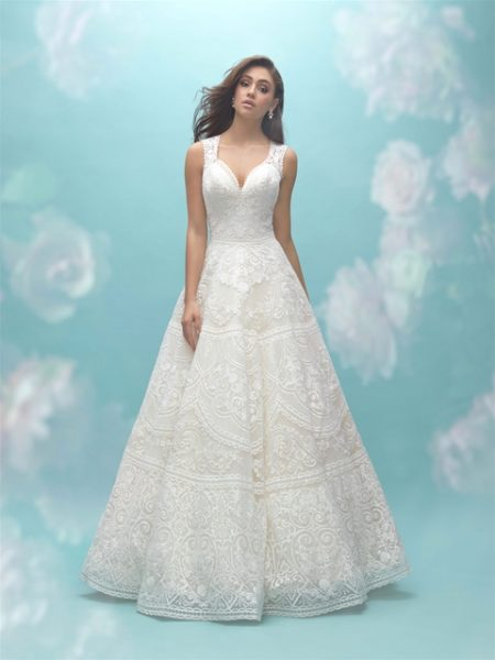 Deep Sweetheart Neck Sleeveless Lace A-line Wedding Dress by Allure Bridals - Image 1