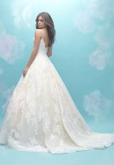 Deep Sweetheart Neck Sleeveless Simple Lace Ball Gown Wedding Dress by Allure Bridals - Image 2