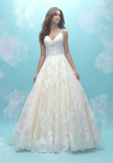 Deep Sweetheart Neck Sleeveless Simple Lace Ball Gown Wedding Dress by Allure Bridals - Image 1