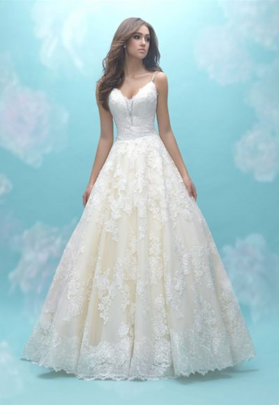 Deep Sweetheart Neck Sleeveless Simple Lace Ball Gown Wedding Dress by Allure Bridals