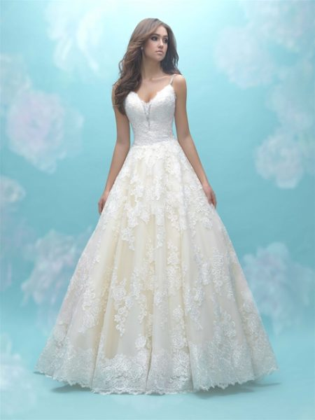 Deep Sweetheart Neck Sleeveless Simple Lace Ball Gown Wedding ...