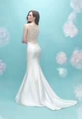 Deep V-neck Sleeveless Mermaid Illusion Back Wedding Dress by Allure Bridals - Image 2
