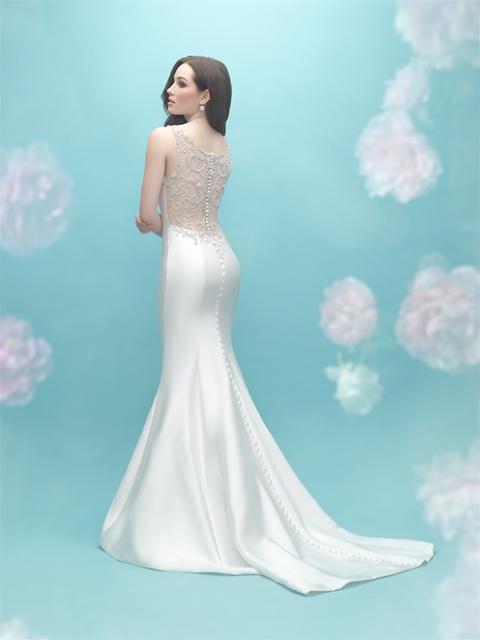 Deep V-neck Sleeveless Mermaid Illusion Back Wedding Dress ...