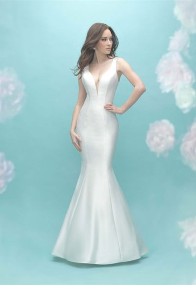 Deep V-neck Sleeveless Mermaid Illusion Back Wedding Dress by Allure Bridals