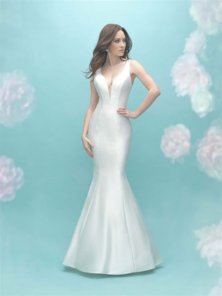 Deep V-neck Sleeveless Mermaid Illusion Back Wedding Dress by Allure Bridals - Image 1