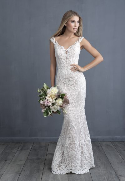 Embroidered And Applique Sheath Wedding Dress by Allure Bridals