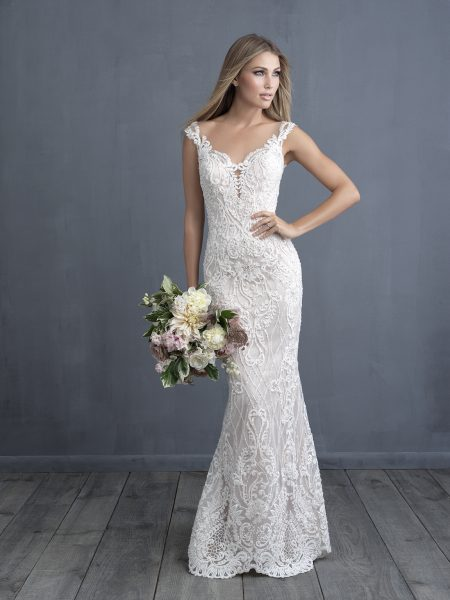 Embroidered And Applique Sheath Wedding Dress by Allure Bridals - Image 1