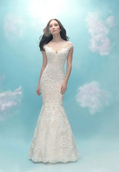 Illusion Neck Fit And Flare Lace Wedding Dress by Allure Bridals