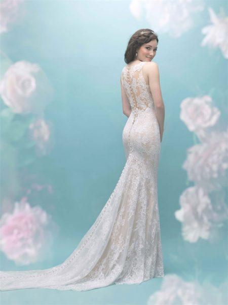 Illusion Sleeveless Lace Sheath Wedding Dress by Allure Bridals - Image 2