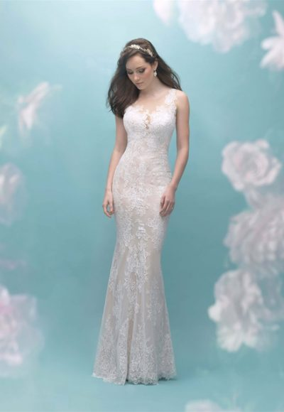 Illusion Sleeveless Lace Sheath Wedding Dress by Allure Bridals