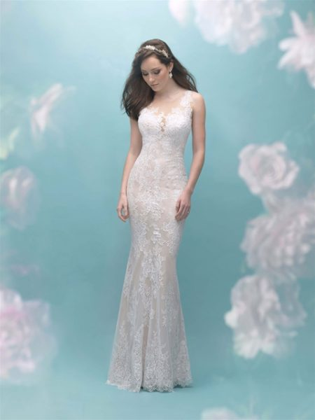 Illusion Sleeveless Lace Sheath Wedding Dress by Allure Bridals - Image 1