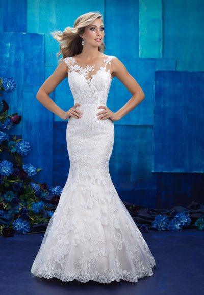 Illusion Sweetheart Capsleeve Lace Fit And Flare Wedding Dress by Allure Bridals