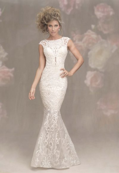 Illusion Sweetheart Neck Cap Sleeve Lace Fit And Flare Wedding Dress by Allure Bridals
