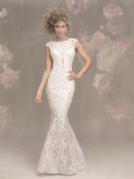 Illusion Sweetheart Neck Cap Sleeve Lace Fit And Flare Wedding Dress by Allure Bridals - Image 1