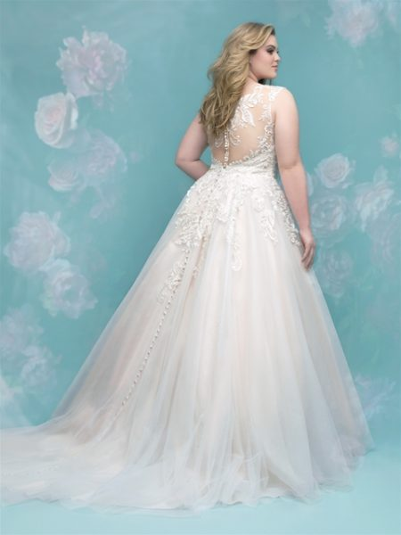 Lace Applique Sweetheart Neck Sleeveless Wedding Dress by Allure Bridals - Image 2