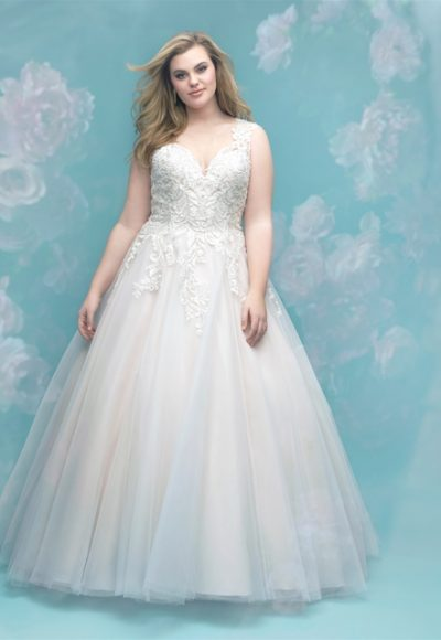 Lace Applique Sweetheart Neck Sleeveless Wedding Dress by Allure Bridals