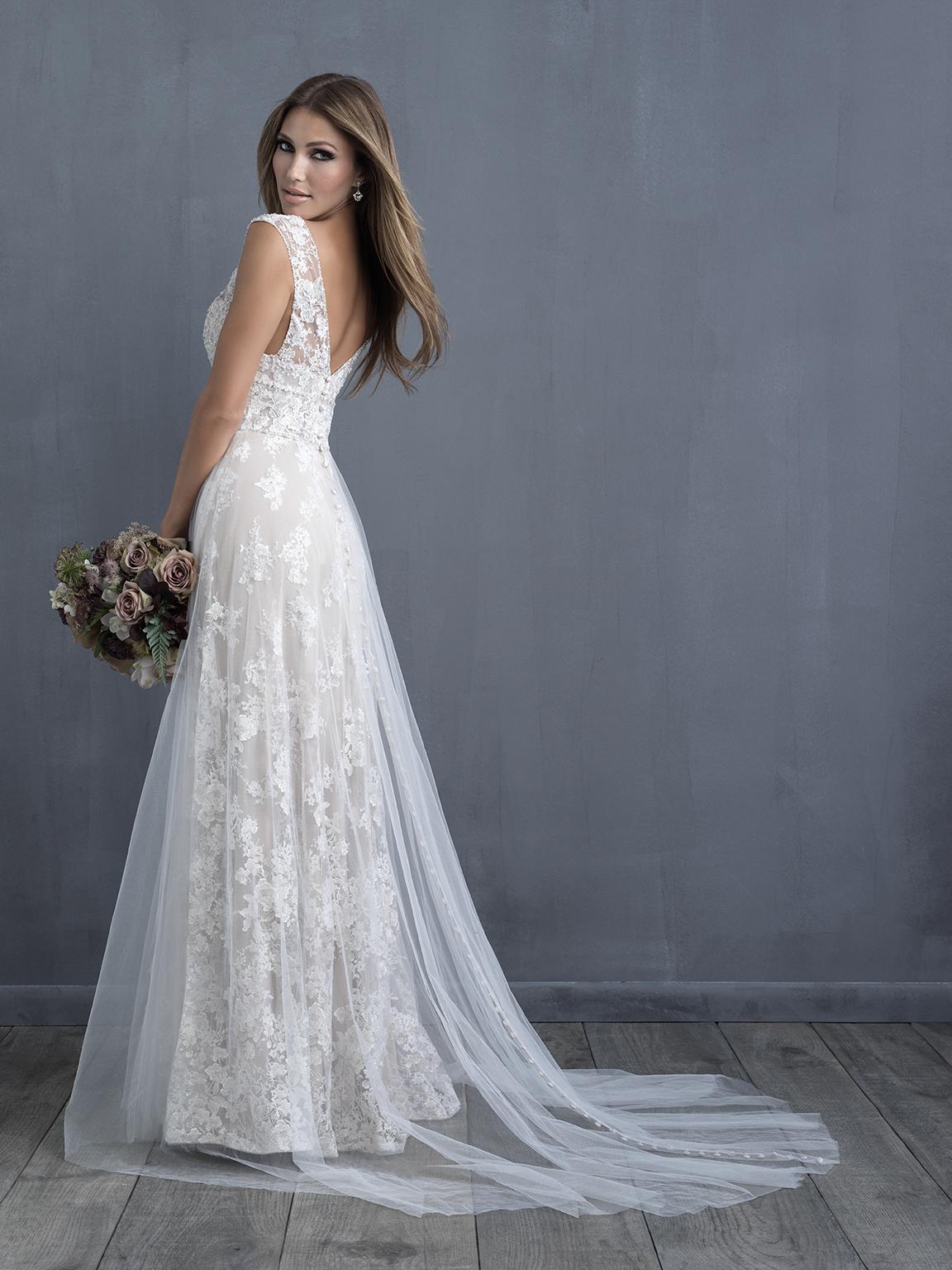 Lace Detailed V-neck A-line Wedding Dress | Kleinfeld Bridal