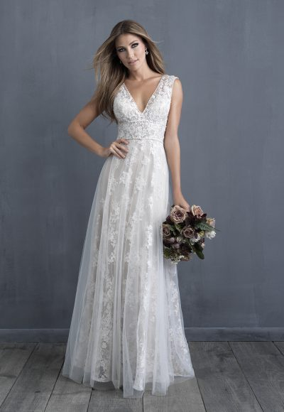 Lace Detailed V-neck A-line Wedding Dress by Allure Bridals