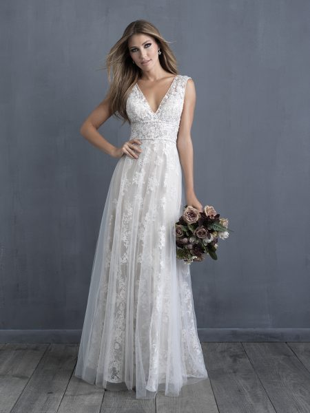 Lace Detailed V-neck A-line Wedding Dress by Allure Bridals - Image 1