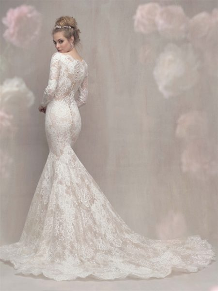 Lace Long Sleeve Fit And Flare Wedding Dress by Allure Bridals - Image 2
