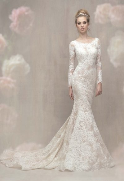 Lace Long Sleeve Fit And Flare Wedding Dress by Allure Bridals