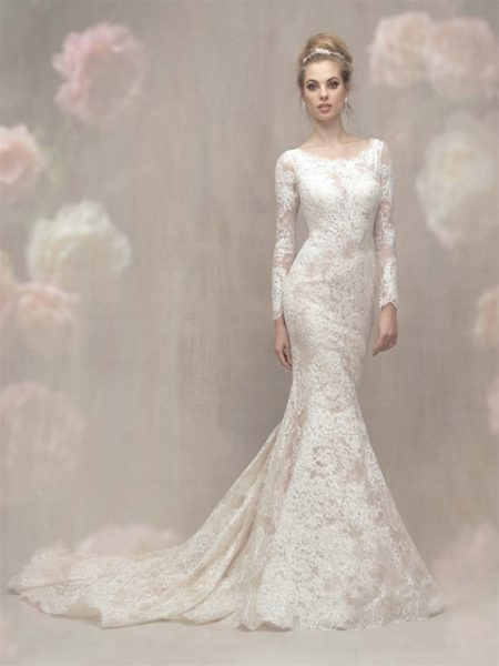 Lace Long Sleeve Fit And Flare Wedding Dress By Allure Bridals Image 1