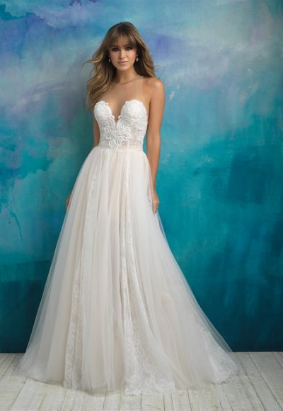 Lace Sweethear Neck Bodice Tulle Skirt Ball Gown Wedding Dress by Allure Bridals
