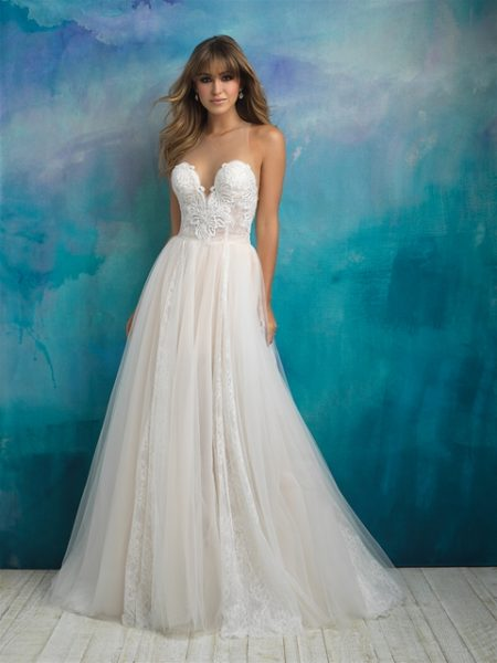 Lace Sweethear Neck Bodice Tulle Skirt Ball Gown Wedding Dress ...