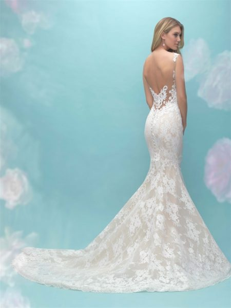 Lace V-neck Fit And Flare Wedding Dress by Allure Bridals - Image 2