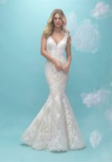 Lace V-neck Fit And Flare Wedding Dress by Allure Bridals - Image 1