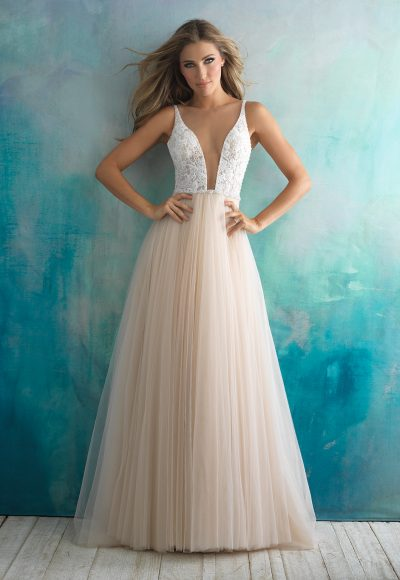 Plunging V-neck Lace And Tulle Ballgown Wedding Dress by Allure Bridals