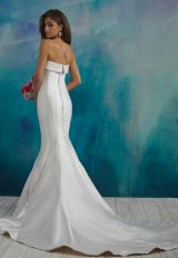 Simple Strapless Saltin Fit And Flare Wedding Dress by Allure Bridals - Image 2
