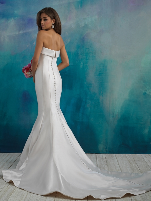 Simple Strapless Saltin Fit And Flare Wedding Dress   Kleinfeld Bridal