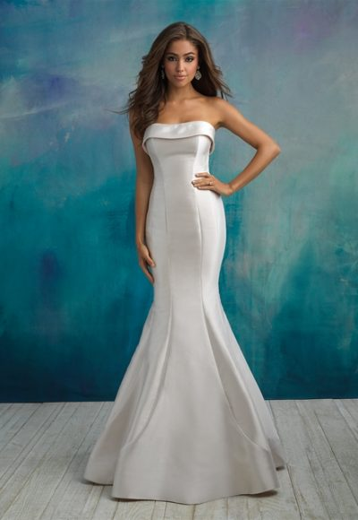 Simple Strapless Saltin Fit And Flare Wedding Dress by Allure Bridals