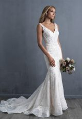 Sleeveless V-neck Beaded Lace Fit And Flare Wedding Dress by Allure Bridals - Image 1