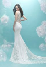 Sweetheart Neck Cap Sleeve Beaded Lace Sheath Wedding Dress by Allure Bridals - Image 2