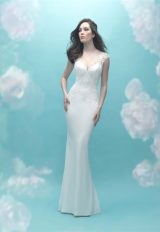 Sweetheart Neck Cap Sleeve Beaded Lace Sheath Wedding Dress by Allure Bridals - Image 1