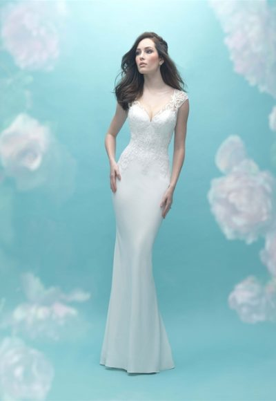 Sweetheart Neck Cap Sleeve Beaded Lace Sheath Wedding Dress by Allure Bridals