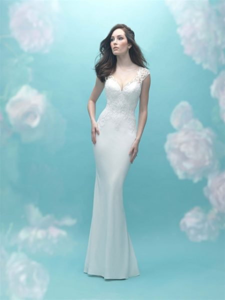 Sweetheart Neck Cap Sleeve Beaded Lace Sheath Wedding Dress ...